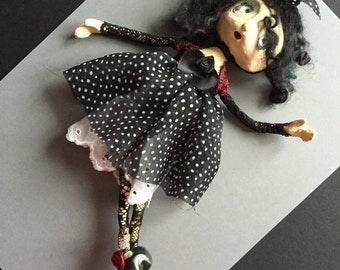 OOAK Art Doll Brooch  MINNIE
