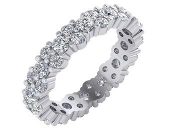 Unique Diamond Eternity Band. Unique Diamond Ring, Diamond Eternity Ring. Diamond Wedding Band in 14k Gold.
