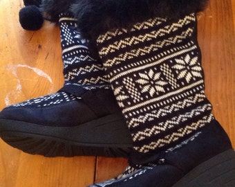 Knit fairisle snow rain boots