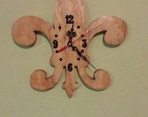 Hand Crafted Wooden Fleur-De-Lis Wall Clock