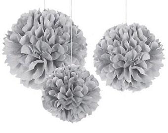 Gray Tissue Pom Poms