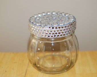 SUMMER SALE- Silver Bling Candy Jar with Rhinestones and a Silver Glittered Rhinestone Encrusted Lid
