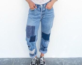 29 W X 28 L - Levi's Patchwork Jeans
