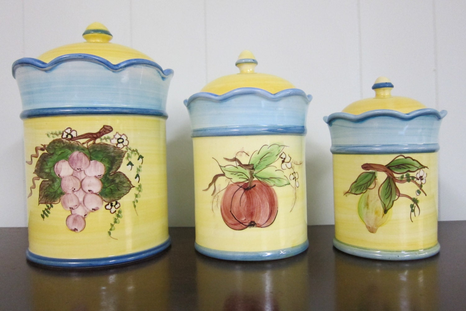 Set Of 3 Ceramic Canisters Jay Willfred Andrea By Sadek