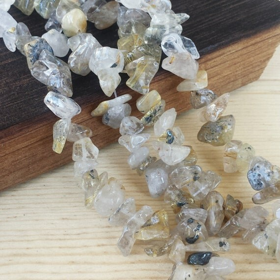 Quartz With Gold Inclusions : Medium large rutilated quartz chips gt quot strand
