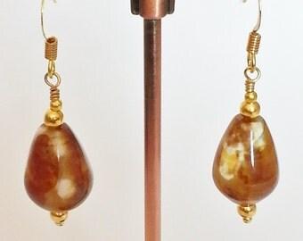 Gold Plated Agate Teardrop Earrings