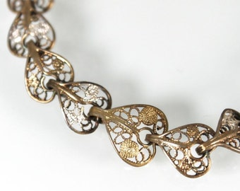 Art Deco Heart Coin Silver Filigree Link Bracelet, Lovely Detailed Design, Gold Tone