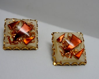 Lucite Copper Cuttings Clip On Earrings