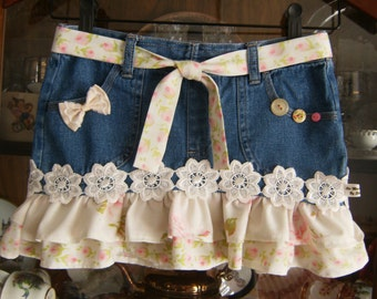 Girl's Size 7 Skirt, Girl's Denim Skirt Size 7, Upcycled Size 7 Girl's Skirt, Upcycled Girl's Denim Skirt