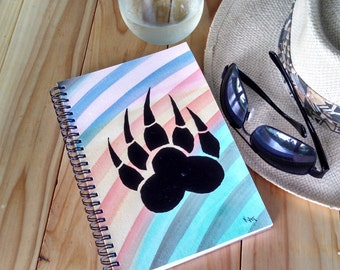 Hand Painted Spiral Journal; Wire Bound Blank Notebook; Writing Journal, Small Sketchbook; Unique Gift; Bear Paw Silhouette