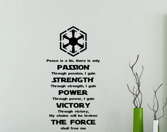 Star Wars Wall Decal Sith Code Quote Passion Strength Power Victory The Force Vinyl Sticker Poster Kids Room Nursery Art Decor Mural 48sw
