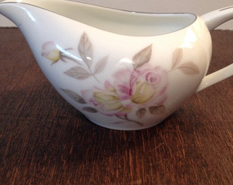 Rose China Pink and Yellow Rose Gravy Boat