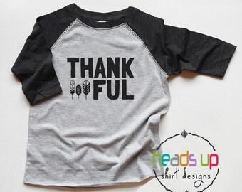 Thanksgiving Shirt Toddler Boy/Girl - Thankful tshirt Raglan - Baby Bodysuit Thanksgiving Thankful - Kids Thanksgiving Tees - Turkey Trendy
