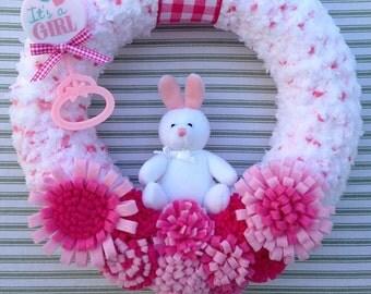 Baby Girl Wreath, Gender Reveal Wreath, Baby Shower Wreath, Girl Nursery Wreath, Pink Baby Girl Wreath, Pink Yarn Wreath, Pink Wreath