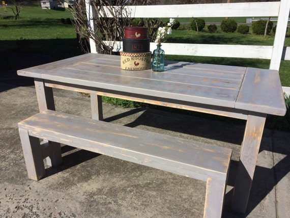Gray Farmhouse Table Rustic Farm by EastTnFurnishings on Etsy