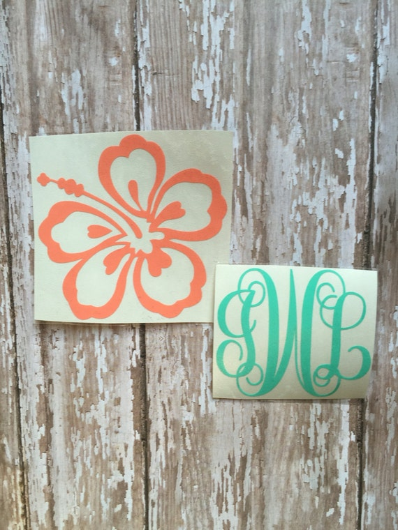 Hibiscus Flower Monogram Decal/ Hibiscus Monogram Car Window Decal/ Yeti Cup Decal/ Hibiscus Decal with Name