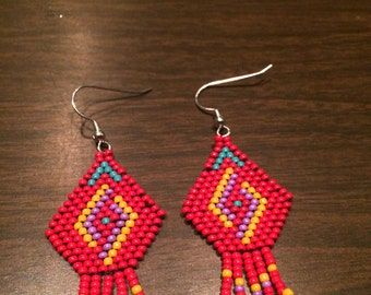 Beaded Earrings - Taino Water Spiral - Red Dangle