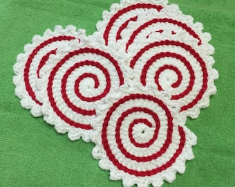 Crochet Coasters, Holiday Coasters, Set of 6, Red Spiral Coasters
