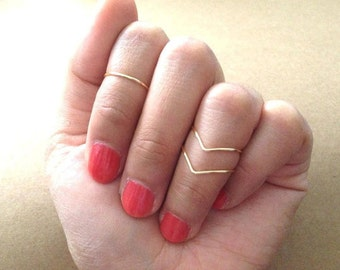 Knuckle Ring Set of 3 - 2 Chevon 1 Band - 4 Different colors- Silver-Gold-Vintage-Charcoal FREE SHIPPING