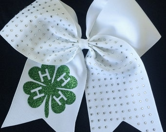 4H Hair Bow Customized with your group name - 4H logo So great for fair!