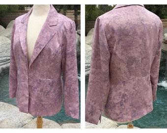 90s Watercolor Purple-Pink Blazer Jacket (Size 8 Medium)//Lined