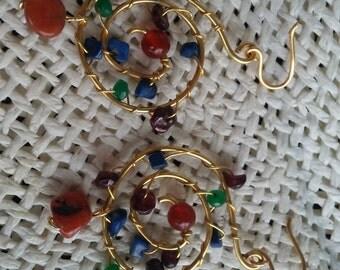Unique, fantasy spiral gemstones earrings