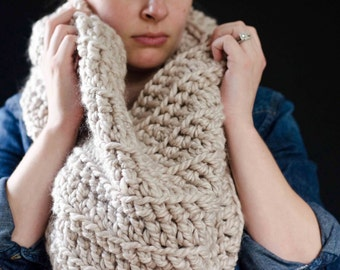 The Haven | Chunky Cowl. Chunky Scarf. Loop Cowl. Cowl. Scarf. Crochet Cowl. Crochet Scarf. Chunky Crochet Cowl.