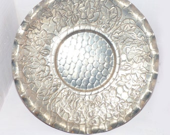 Vintage Aluminum Plate WORLD Hand Forged Hammered Aluminum - 537