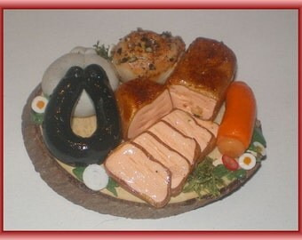 Rustic sausage plate - Dollhouse miniature polymer clay
