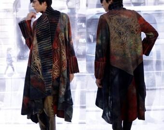 Printed wool coat, Women felt coat, Luxury wool clothing, Merino Jacket, Fashion wool coat