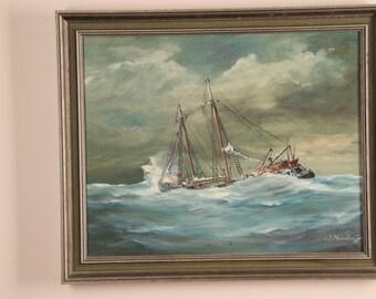 W. Neudorff oil painting - Ship at Sea