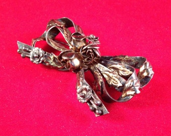 Superb 14K over Sterling Hobé Floral Bow Brooch - 1940s - Bow with Raised Leaves on Ribbons 123
