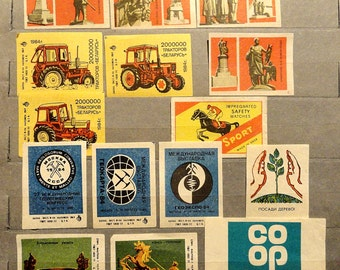 80's Vintage Labels. Soviet stickers for matchboxes. A set of matchbox stickers. Vintage Labels 14 pieces.
