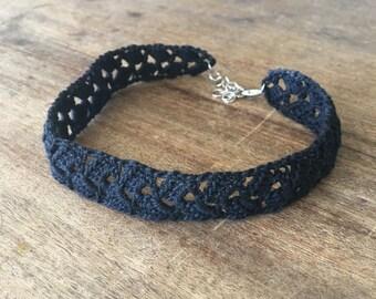 Black Choker Handmade, Victorian Goth Crochet Accessory, Crochet Necklace, Gargantilla Crochet Choker