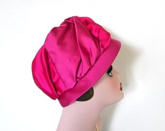 Vintage Raspberry Pink Satin Hat~ Circa 1960s