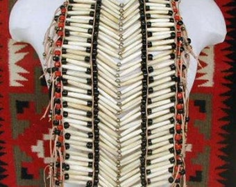 Indian Apache Powwow Native American Full Tribal Breastplate Chest Plate Hairpipe Bone Necklace Body Jewelry