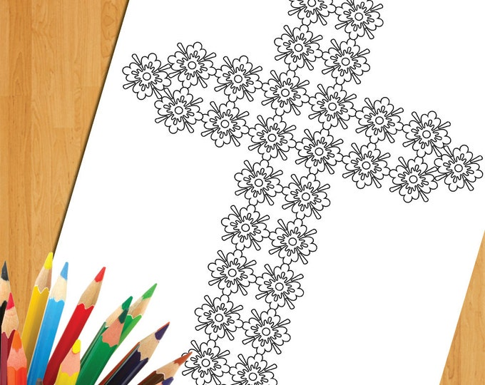 Christian Coloring, Religious Coloring, Cross Coloring, Floral Cross Illustration, Digital Coloring Prints, Christian Cross Coloring Page