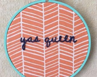 Yas Queen Embroidery Hoop Wall Art