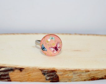 Girl Ring pattern glass, Butterfly cabochon Ring jewelry,  .