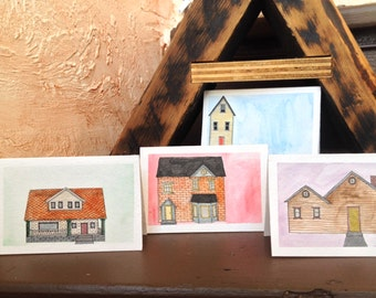 tiny houses - set of 4 greeting cards