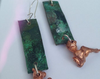 Patina copper earing