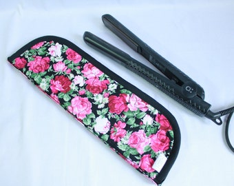 Flat Iron Travel Case - Rose Floral and Polka Dots - Heat Resistant