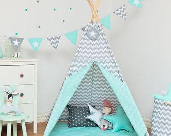 Teepee set with floor mat - Fresh Mint