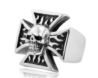 Stainless steel flame skull ring Iron Cross for him and her (SK-004)