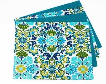 Set of Four Reversible Placemats in Turquoise and Shades of Blue and Green, Double Sided Placemats with Turquois Blue and Green