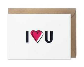 Letterpress Valentines card - I heart U - FREE UK DELIVERY