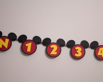 Mickey Mouse First Year Photo Banner, Disney Theme 1st Year Photo Banner, Mickey Mouse 12 Month Photo Banner