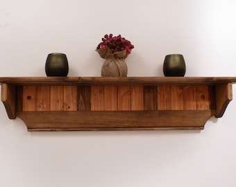 Wood Wall Shelf 35 Inches-Two colors pattern, three panels