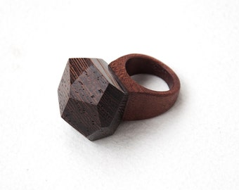 Wooden ring, wenge, red wood, natural ring, wooden jewelry, one-of-a-kind ring, unique ring
