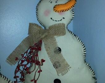 Hanging Snowmen Muslin Handmade Hand Sewn Christmas Wall Hanging Christmas Decor Christmas Snowman
